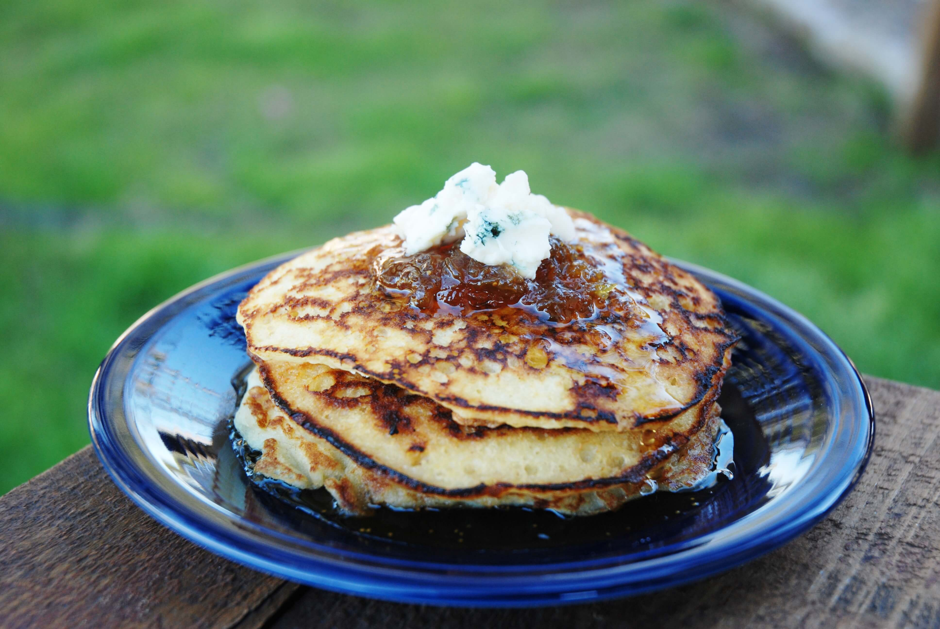 Blue Cheese Pancakes With Fig Maple Syrup