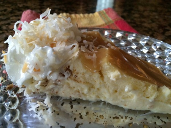 Coconut Cheesecake with Salted Caramel Sauce