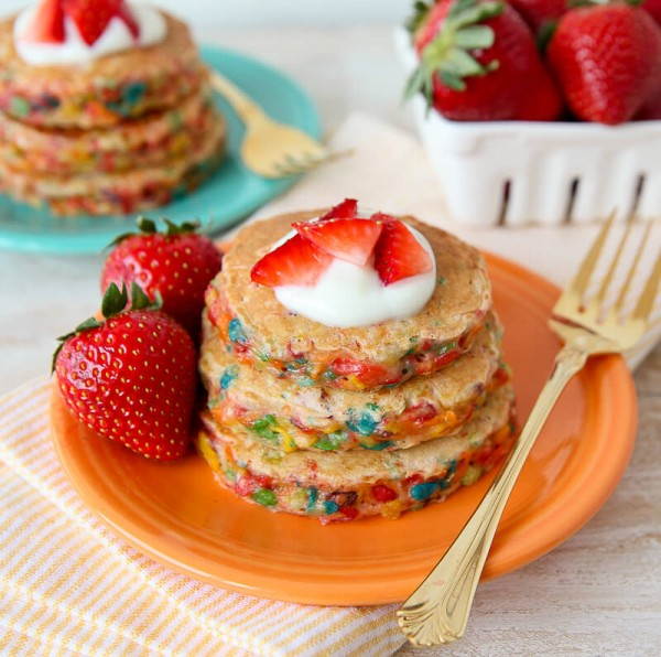 Fruity Pebbles Confetti Pancakes