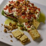 Goat Cheese Terrine with Arugula Pesto and Roasted Red Peppers