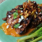 """Al Fuego"" Grilled Chicken Thighs with Mango Chorizo Sauce and Plantain Fries"