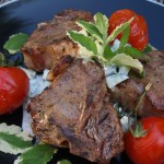 Mint Tea Infused Grilled Lamb Chops with Cucumber-Lemon Sauce