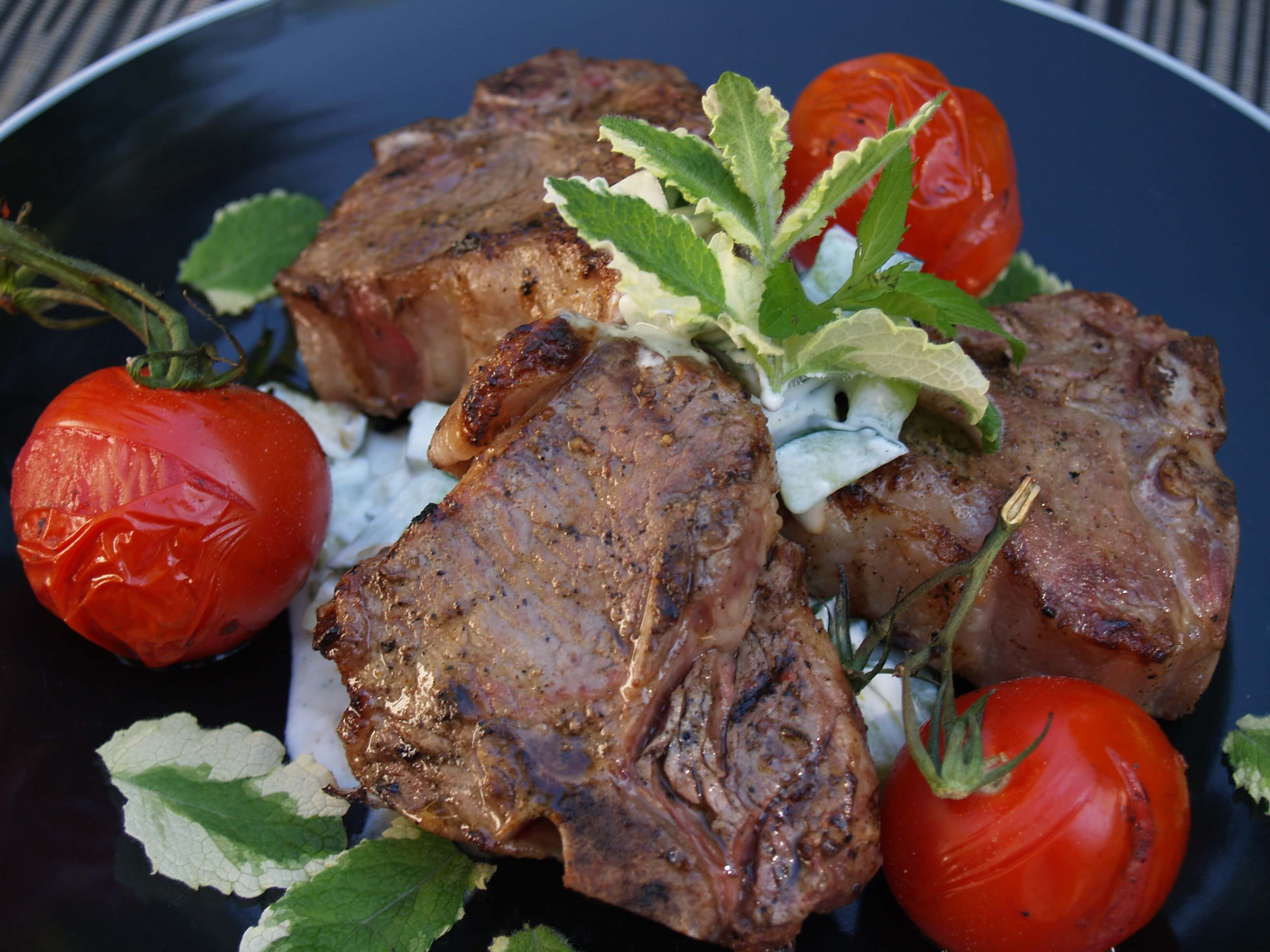 Lamb Loin Chops With Greek Salad And Yogurt-Lemon Sauce ...