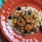 Grilled Shrimp Tostadas with Basil-Lime Blueberry Slaw