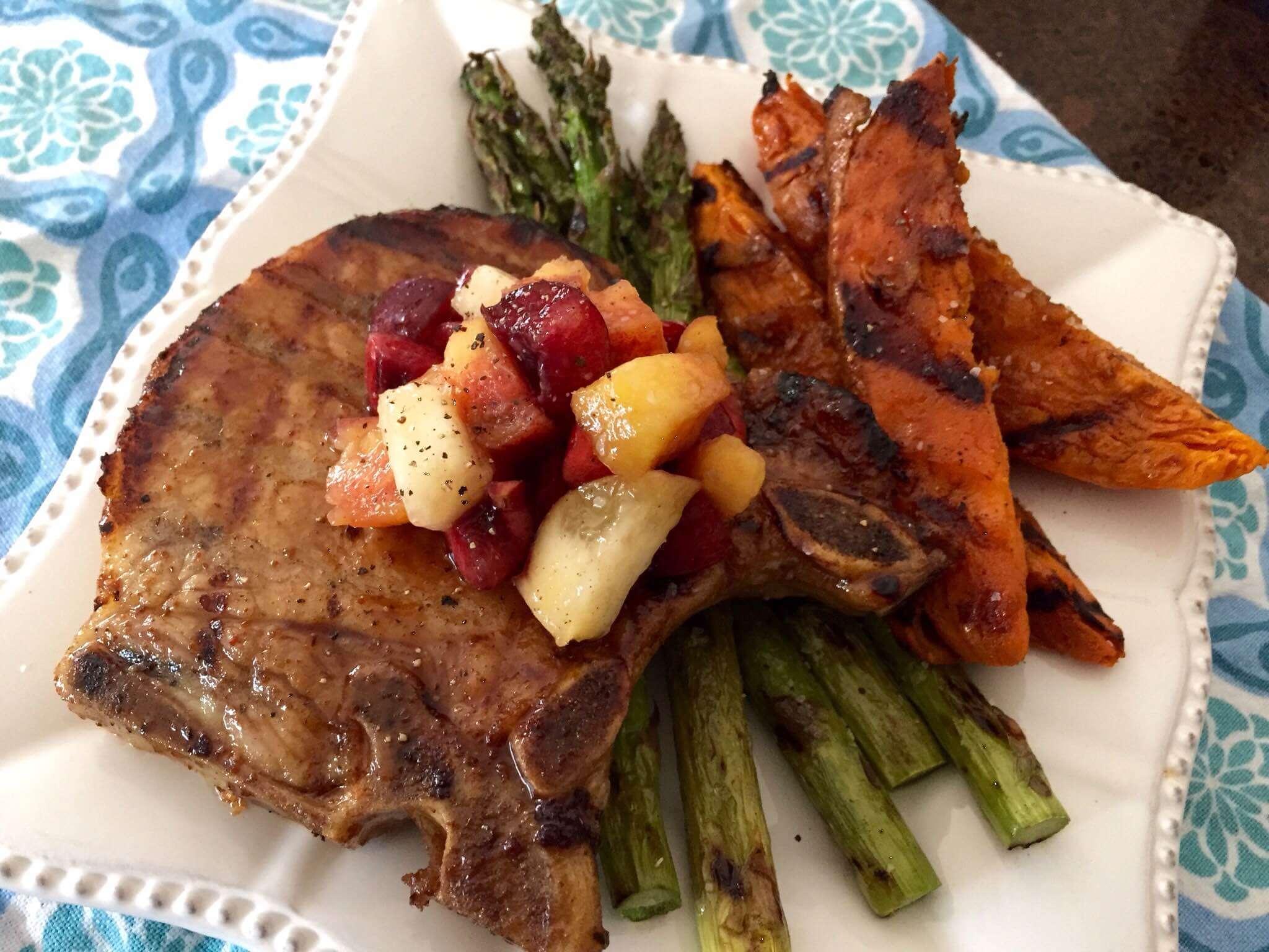 Sweet Tea Brined Pork Chops with Maple-Bourbon Glaze
