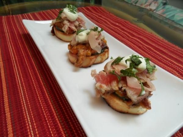 Sushi Tuna Bruschetta with Wasabi Crema