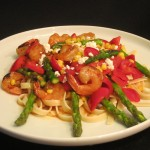 Spicy Grilled Shrimp with Fettuccine and Asparagus