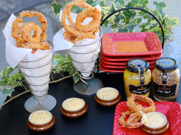 Crispy Fried Pickled Onions with Double Mustard Dip