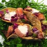 Chipotle-Raspberry Mini Shrimp Tacos with Mustard Crema