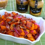 Rosemary Mustard Roasted Butternut Squash with Pickled Onions and Bacon