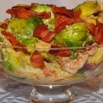 Roasted Brussels Sprouts with Mustard Pan Sauce and Bacon