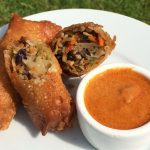 Pork And Broccoli Slaw Egg Rolls With Thai Curry Peanut Sauce