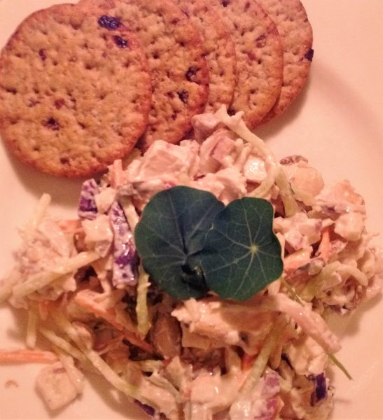 Chicken and Broccoli Slaw Salad with Toasted Almonds