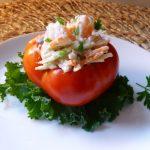 Broccoli and Shrimp Salad Stuffed Heirloom Tomatoes