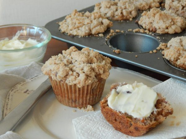 Mann's Morning Glory Crumb Muffins with Honey Orange Butter