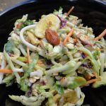 Tossed Broccoli Cole Slaw with Dried Bananas, Oats and Seeds