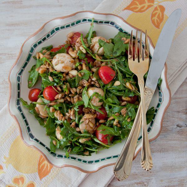 Italian Caprese Salad with Lemon-Pine Nut Farro